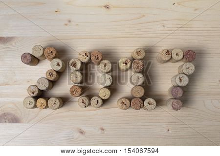 Wine corks closeup 2017. New Year's decorations