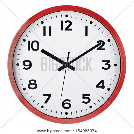 Red Wall clock isolated on white background. Ten past ten