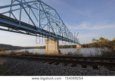 A steel truss bridge over the Ohio River that forms the border between West Virginia and Ohio