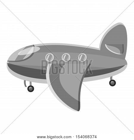 Airplane passenger plane icon. Gray monochrome illustration of airplane passenger plane vector icon for web