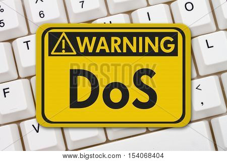 Denial of service warning sign A yellow warning hanging sign with text DoS on a keyboard 3D Illustration