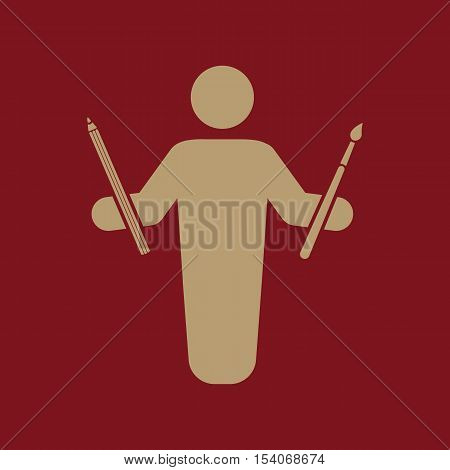 The painter avatar icon. Artist and craftsman symbol. Flat Vector illustration. Button Set