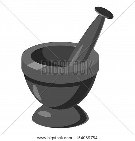 Mortar and pestle icon. Gray monochrome illustration of mortar and pestle vector icon for web