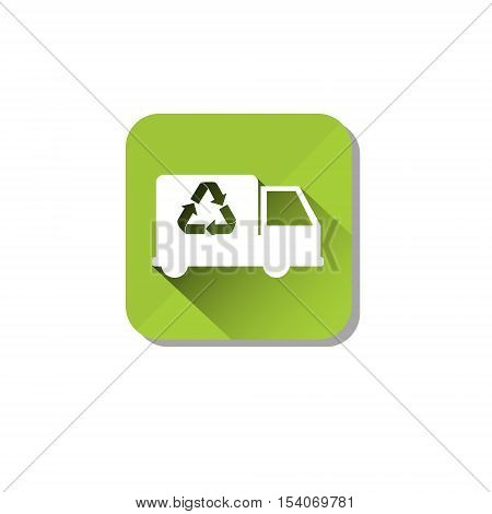 Car Truck Recycle Symbol Green Logo Web Icon Flat Vector Illustration
