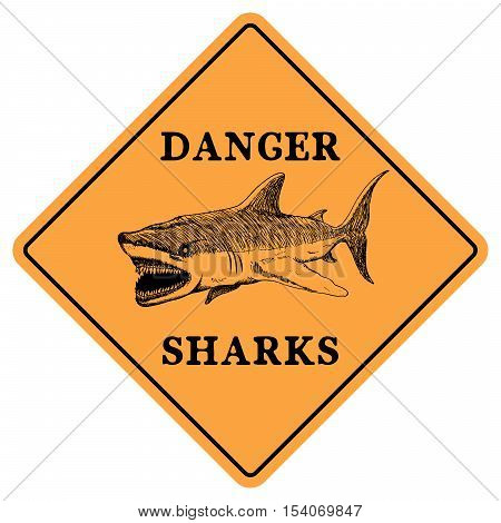 Danger sharks.Vector sign isolated on white background