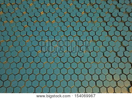 Abstract honeycomb background 3d illustration or backdrop. 3D rendering.
