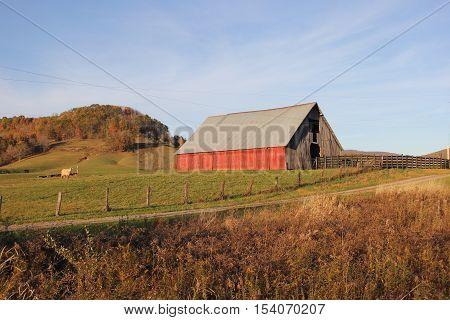 Fence row with a barn Appalachian Mountains, West Virginia