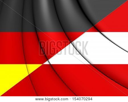 Combined Flag Of Austria And Germany. 3D Illustration.