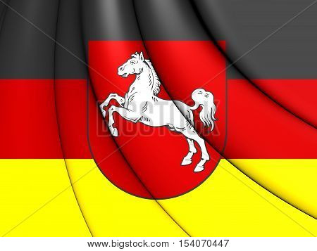 3D Flag Of Lower Saxony, Germany. 3D Illustration.
