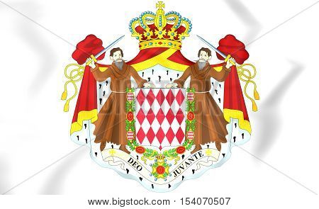 Monaco Coat of Arms. 3D Illustration. Close Up.