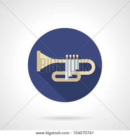 Symbol of trumpet or bugle. Brass and woodwind musical instruments. Orchestral, jazz or symphony sign, music store. Round blue flat design vector icon.