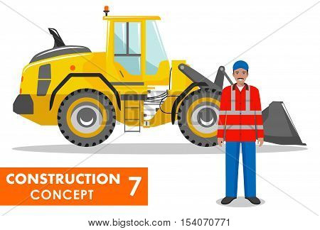 Detailed illustration of wheel loader and worker in flat style on white background.