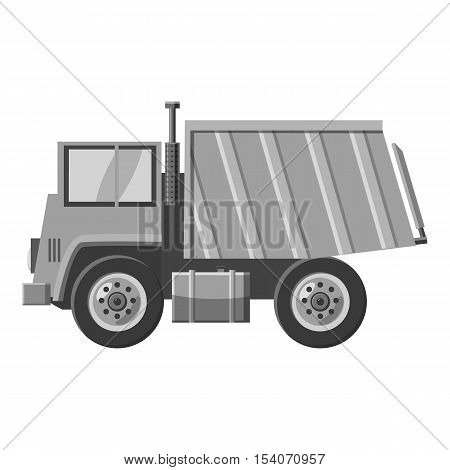 Dump truck icon. Gray monochrome illustration of dump truck vector icon for web