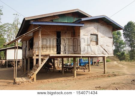 Traditional village of Katu minority on Bolaven Plateau, Laos, Asia