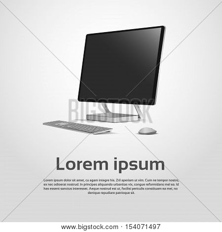 Desktop Logo Modern Computer Workstation Icon Vector Illustration