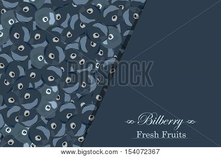 Background with seamless texture bilberries. Cover fresh fruit. Vector illustration.