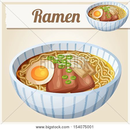Japanese ramen soup Cartoon vector icon. Series of food and drink and ingredients for cooking.