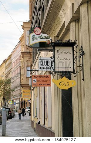 PRAGUE, CZECH REPUBLIK - OCTOBER 20, 2016: Sign forest in a street in the old town of Prague. In the Old Town of Prague there are many side streets with restaurants, cafes and shops