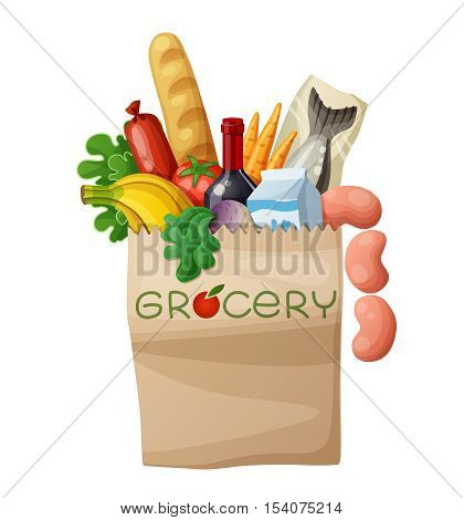 Grocery bag isolated on white background. Cartoon vector illustration. Bread, wine, sausages, fish, milk, banana, turnip, green, carrots, tomato