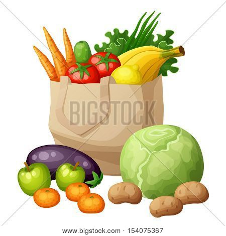 Grocery bag isolated on white background. Cartoon vector illustration. Fruits and vegetables: bananas, green, carrots, tomato, cabbage, potato, apples, mandarine, cucumber, eggplant, lemon, onion