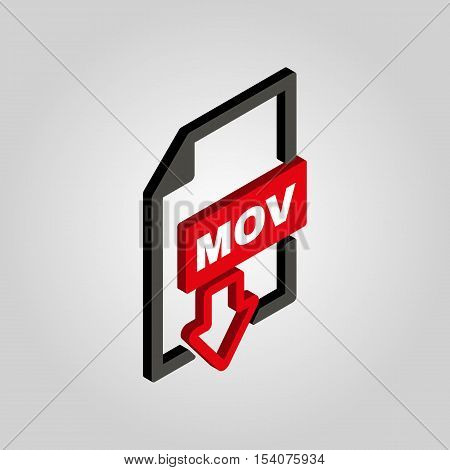 The MOV icon.3D isometric. Video file format symbol. Flat Vector illustration