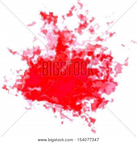 Bright red splash spatter graphic spot on white background
