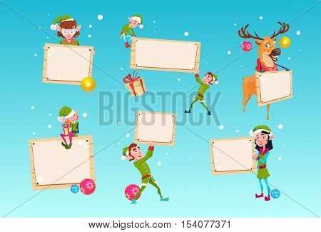 Christmas Elf Group Reindeer Cartoon Character Santa Helper Hold Empty Sign Board Banner Set Flat Vector Illustration