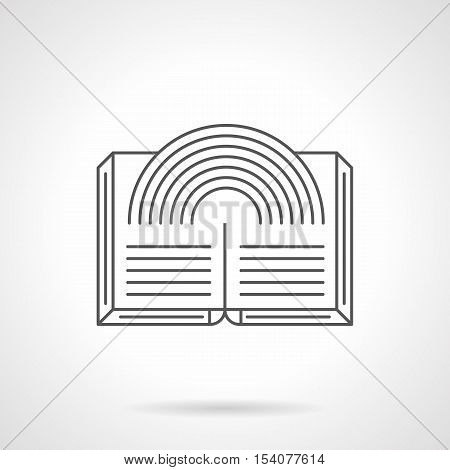 Open magic book with abstract rainbow. Sign for genres of literature. Unusual fantasy stories, interesting myths and mysteries. symbol for web bookstore. Flat black line vector icon.