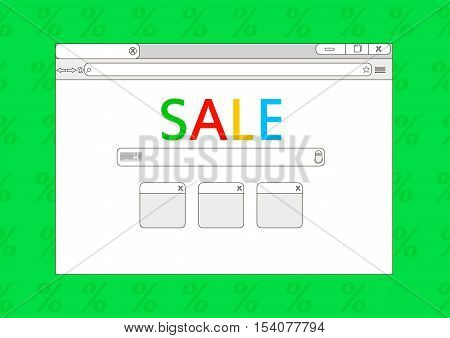 Sale browser window on green background. Browser sale. Flat vector stock illustration.