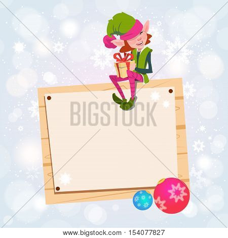 Christmas Elf Girl Cartoon Character Santa Helper Sit On Empty Sign Board Banner Flat Vector Illustration