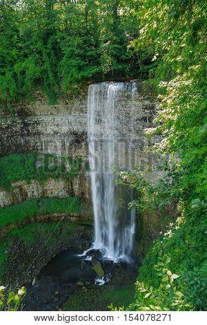 Fragment of view of beautiful gorgeous  Niagara escarpment water fall