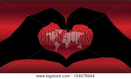 Hand Heart Silhouette And Worldmap Background Beautiful Banner Wallpaper Design Illustration