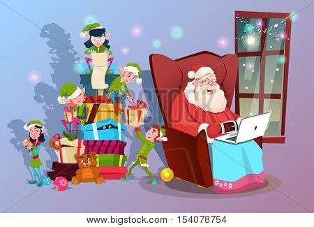 Santa Claus Using Laptop Green Elf Helper Group With Present Happy New Year Merry Christmas Banner Flat Vector Illustration