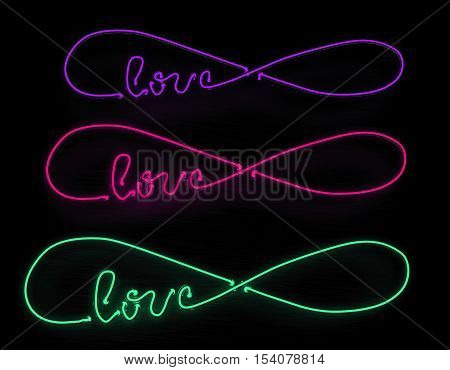 Infinite love 3d render neon sign set isolated on black background