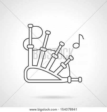 Traditional melody symbol. Abstract bagpipes and single note. Woodwind musical instruments. National music. Flat black line vector icon.
