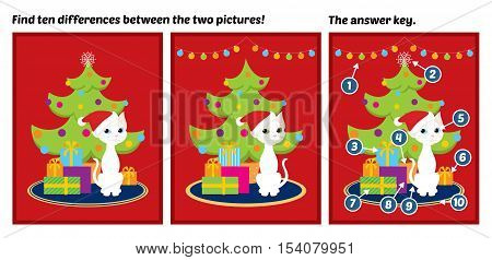 Spot the difference game with the answer key. Vector colorful illustration of a white cat sitting near a Christmas tree and gift boxes.
