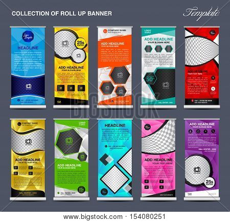 Collection of colorful Roll Up Banner Design stand template, polygon background, banner design, advertisement, display template, pull up banner, x-stand, flag-banner