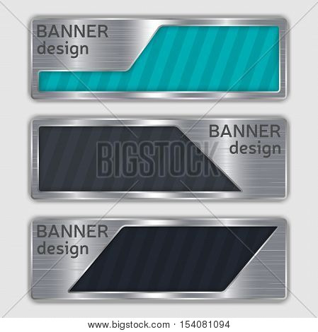 set of metallic textured banners. web banners with realistic steel texture in abstract forms. set of metallic geometric vector banners made in material design style. vector illustration.