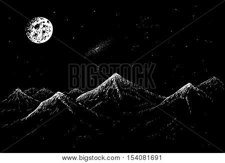 landscape of mountains with moonlight in the night.Vector hand drawn illustration