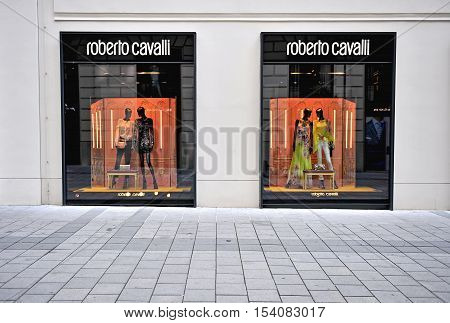 VIENNA AUSTRIA - JUNE 6: Facade of Roberto Cavalli flagship store in Vienna on June 6 2016. Roberto Cavalli is a world famous fashion house founded in Italy.