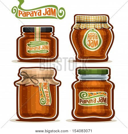 Vector logo Papaya Jam in glass Jars with paper cover lid, rustic Pot home made papaya jams, twine rope bow, homemade fruit jam jar, farm jelly pot with label, checkered cloth cap, isolated on white.