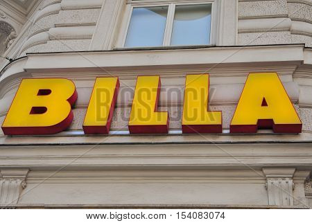 VIENNA AUSTRIA - JUNE 6: Logotype of Billa grocery store in Vienna on June 6 2016. Billa is an international chain of grocery stores founded in Austria.