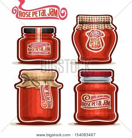 Vector logo Rose Petal Jam in Jars with paper cover lid, pink Pot home made rose petal jams, twine rope bow, homemade jam jar, floral nectar jelly pot with label, checkered cloth cap isolated on white