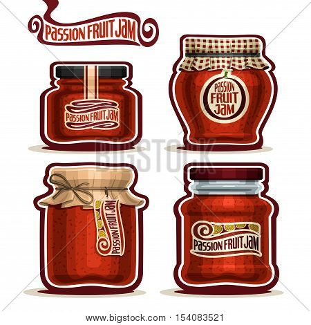Vector logo Passion Fruit Jam in Jars with paper cover lid, Pot home made passion fruit jams, twine bow, set homemade passionfruit jam jar, farm pot with label, checkered cloth cap, isolated on white.