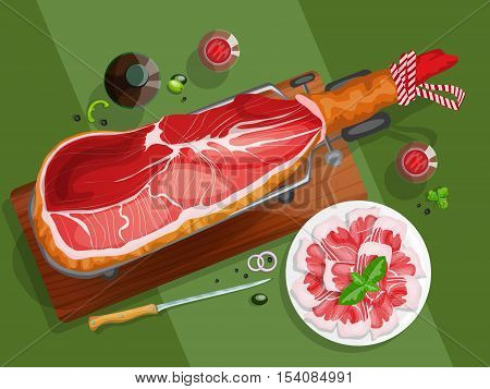 Top view composition with iberian ham on a jamonera, sliced iberian ham and red wine.