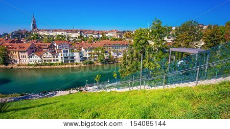 BERN SWITZERLAND - September 25 2016 - Funicular in the Bern city center. Bern is capital of Switzerland and fourth most populous city in Switzerland.