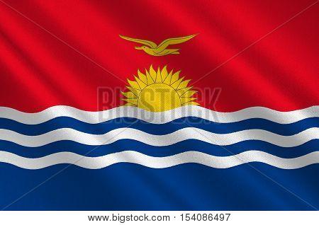 Flag of Republic of Kiribati Micronesia. 3d illustration
