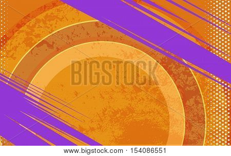 Vector Comic Book and Journal Grunge Orange Background. Vector Texture with Halftone Dots and Round Shapes for Comic Books and Journals