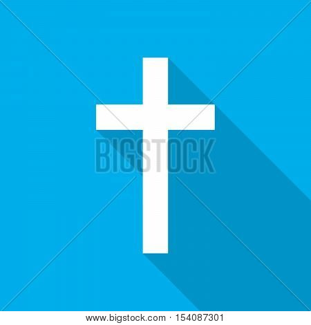 White christian cross icon on blue background. Abstract christian cross with long shadow. Vector illustration.