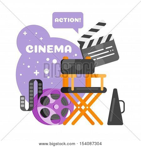 Vector flat style set of old cinema icon for online movies. Isolated on white background. Camera, clapboard, directors chair.